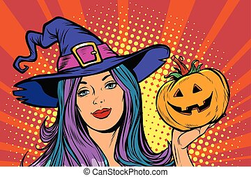 happy Halloween witch with pumpkin