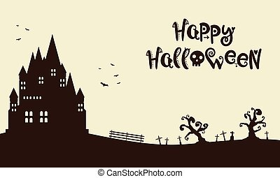 Happy Halloween with castle background