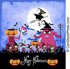 Happy Halloween with children trick