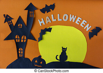 Happy Halloween with haunted house castle and black cat and moon and pumpkin on orange background.