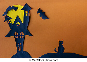 Happy Halloween with haunted house castle and black cat