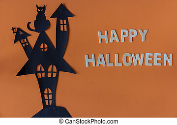 Happy Halloween with haunted house castle and black cat on orange background