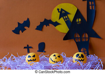 Happy Halloween with haunted house castle and moon and pumpkin and bat on orange background.
