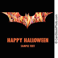 Happy Halloween with Isolated Fire Bat