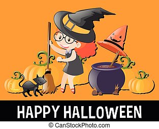 Happy Halloween with kid in witch costume