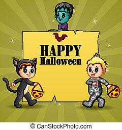 Happy halloween with kids wearing costume