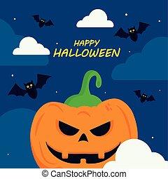 happy halloween with pumpkin cartoon vector design
