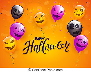 Happy Halloween with Scary Balloons and Confetti on Orange Background