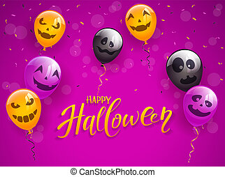 Happy Halloween with Scary Balloons and Confetti on Purple Background