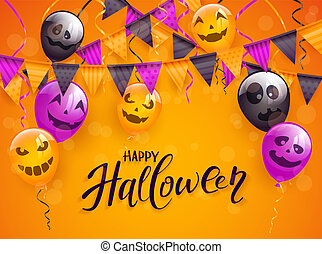 Happy Halloween with scary balloons and pennants on orange background