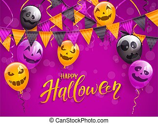 Happy Halloween with scary balloons and pennants on purple background