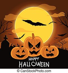 Happy Halloween with scary pumpkins background