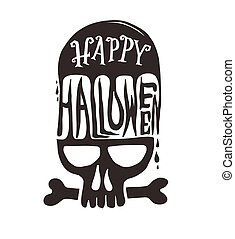 Happy Halloween with skull.