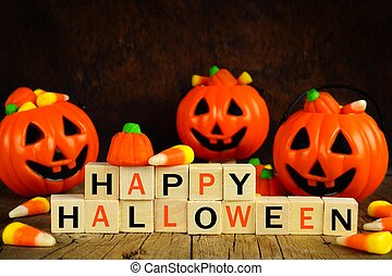 Happy Halloween wooden blocks with candy corn and jack o lanterns