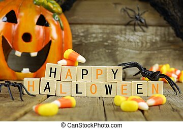 Happy Halloween wooden blocks with candy corn and decor...