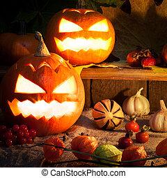 Happy Halloween wooden blocks with decor