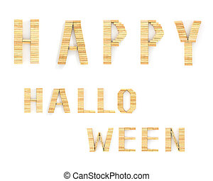 Happy Halloween words on white background