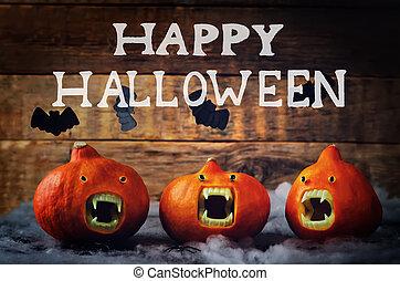 Happy Halloween words with pumpkins
