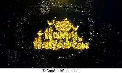 Happy Halloween Written Gold Particles Exploding Fireworks Display 1