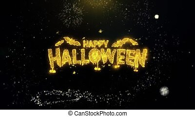 Happy Halloween Written Gold Particles Exploding Fireworks...