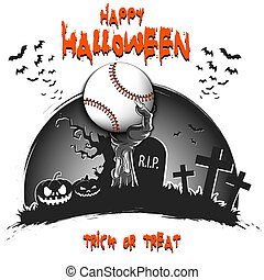 Happy Halloween. Zombie hand from the grave holding a baseball ball. Pumpkins, spooky tree, crosses, coffin and bats. Pattern for banner, poster, party invitation. Vector illustration