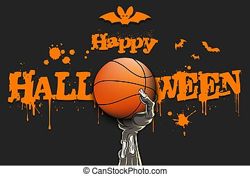 Happy Halloween. Zombie hand is holding a basketball ball. Template basketball design. Grunge style. Pattern for banner, poster, greeting card, flyer, party invitation. Vector illustration