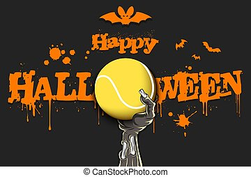 Happy Halloween. Zombie hand is holding a tennis ball. Template tennis design. Grunge style. Pattern for banner, poster, greeting card, flyer, party invitation. Vector illustration