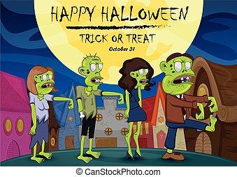 Happy halloween - zombie on small town cartoon vector illustration