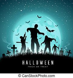 Happy Halloween Zombies and bat on full moon