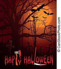 happy hallowen - scary graveyard at night-halloween...