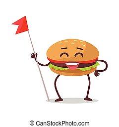 Happy Hamburger Cartoon Character