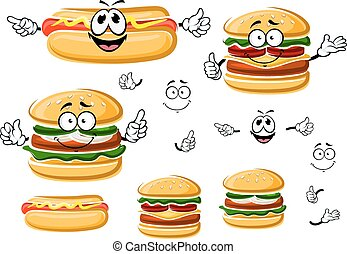 Happy fast food hamburger, hot dog and cheeseburger cartoon characters. For takeaway and fast food menu design