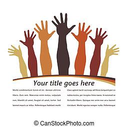 Happy hands design. - Happy hands design with copy space...