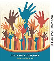 Happy hands design. - Happy hands design vector.