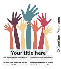 Happy hands design. - Happy hands design with copy space.