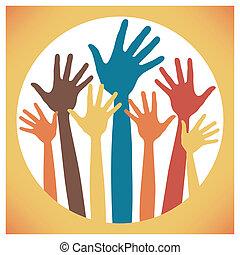 Happy hands design. - Happy hands design within a circular ...