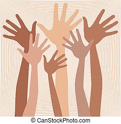 Happy hands in skin tones.