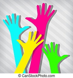 Happy hands on a striped background