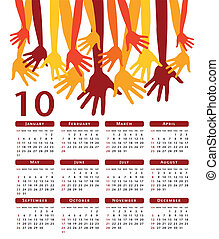Happy hands vector calendar.