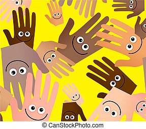 happy hands wallpaper - Diverse happy hands abstract...
