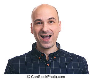 Happy handsome bald man smiling. Isolated
