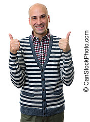 Happy handsome man showing thumbs up. Isolated