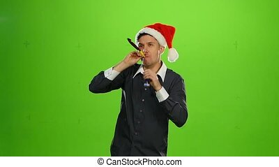 Happy handsome positive man in Christmas hat. green screen. Slow motion