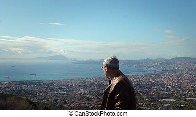 Happy handsome senior Caucasian local man enjoying...