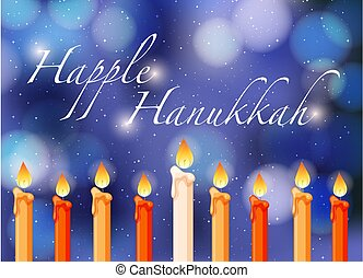 Happy Hannukkah theme with candlelights