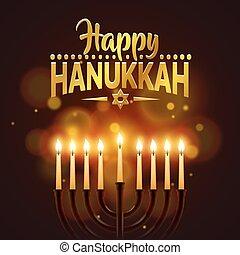 Happy Hanukkah background cover, card celebration text.