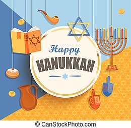Happy hanukkah card. - Happy hanukkah card with golden frame...