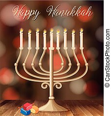 Happy Hanukkah card template with candleholder with lights...