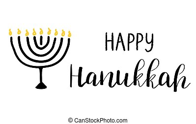 Happy Hanukkah card with lettering text and menorah with 9 candles on white background.