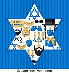 Happy Hanukkah card with photo booth stickers. Accessories...